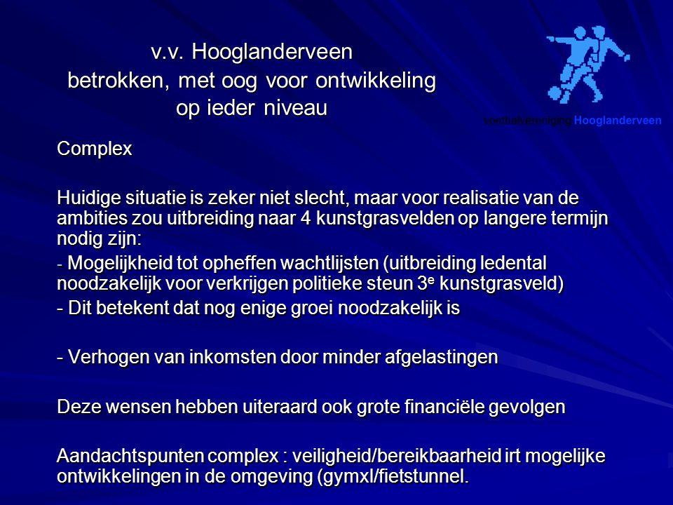 v.v. Hooglanderveen betrokken, met oog voor ontwikkeling op ieder niveau Complex Huidige situatie is zeker niet slecht, maar voor realisatie van de am