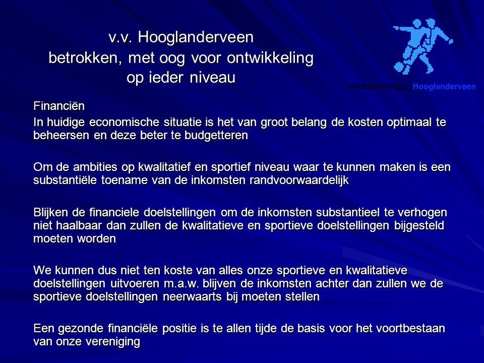 v.v. Hooglanderveen betrokken, met oog voor ontwikkeling op ieder niveau Financiën In huidige economische situatie is het van groot belang de kosten o