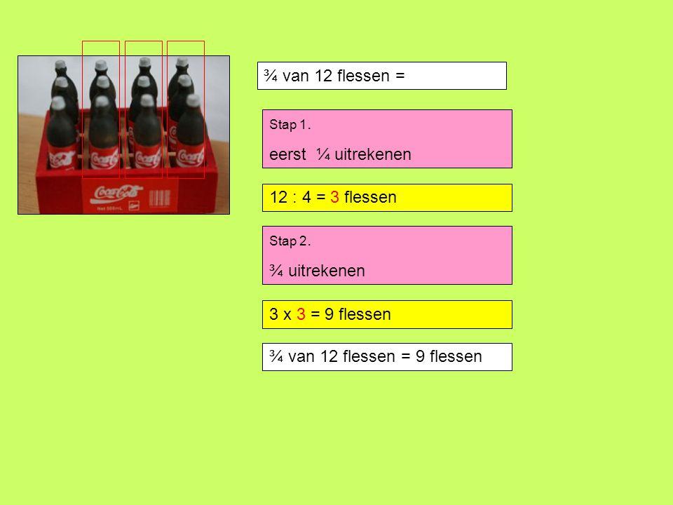 ⅔ van 15 bonbons = Stap 1.eerst ⅓ uitrekenen 15 : 3 =..