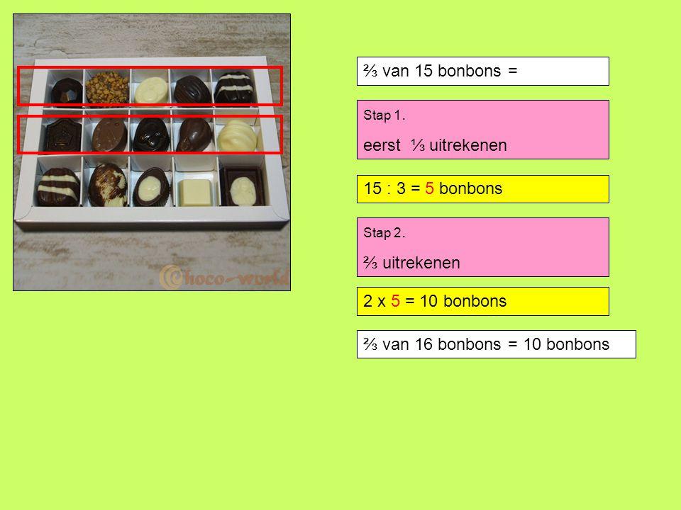 ⅔ van 15 bonbons = Stap 1. eerst ⅓ uitrekenen 15 : 3 =.. bonbons Stap 2. ⅔ uitrekenen 2 x 5 =.. bonbons ⅔ van 16 bonbons = 10 bonbons 15 : 3 = 5 bonbo