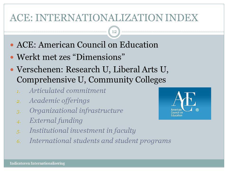 "ACE: INTERNATIONALIZATION INDEX  ACE: American Council on Education  Werkt met zes ""Dimensions""  Verschenen: Research U, Liberal Arts U, Comprehens"