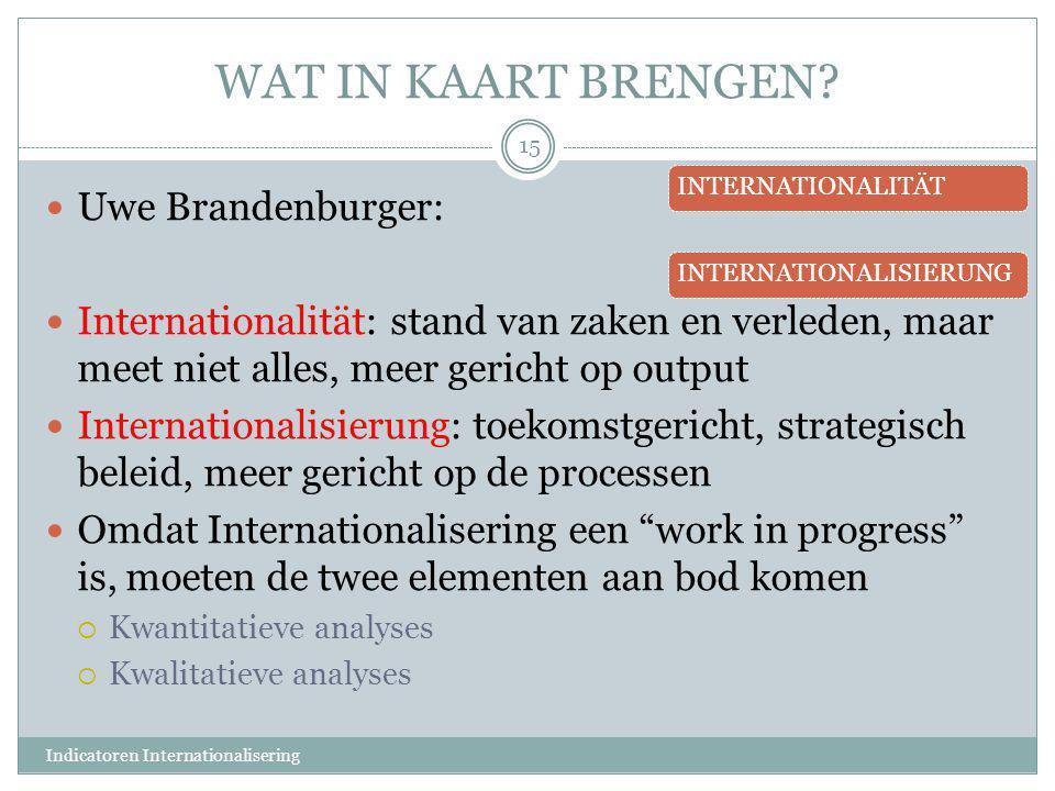 WAT IN KAART BRENGEN?  Uwe Brandenburger:  Internationalität: stand van zaken en verleden, maar meet niet alles, meer gericht op output  Internatio