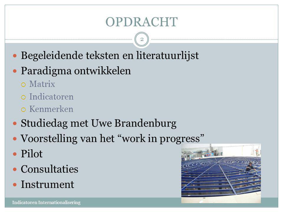 OPDRACHT  Begeleidende teksten en literatuurlijst  Paradigma ontwikkelen  Matrix  Indicatoren  Kenmerken  Studiedag met Uwe Brandenburg  Voorst