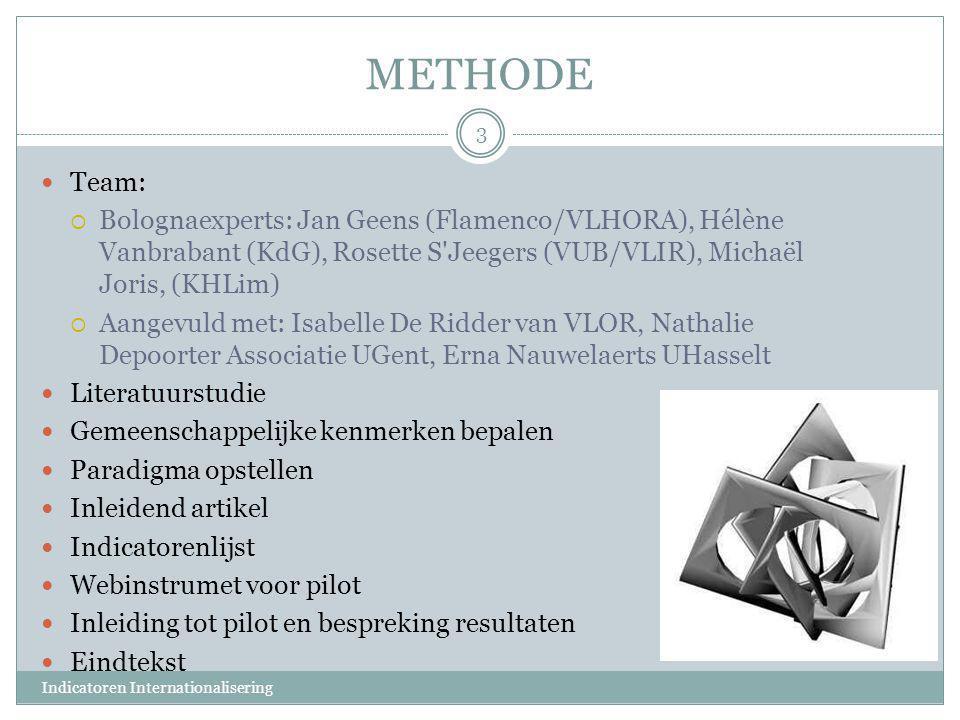 METHODE  Team:  Bolognaexperts: Jan Geens (Flamenco/VLHORA), Hélène Vanbrabant (KdG), Rosette S'Jeegers (VUB/VLIR), Michaël Joris, (KHLim)  Aangevu
