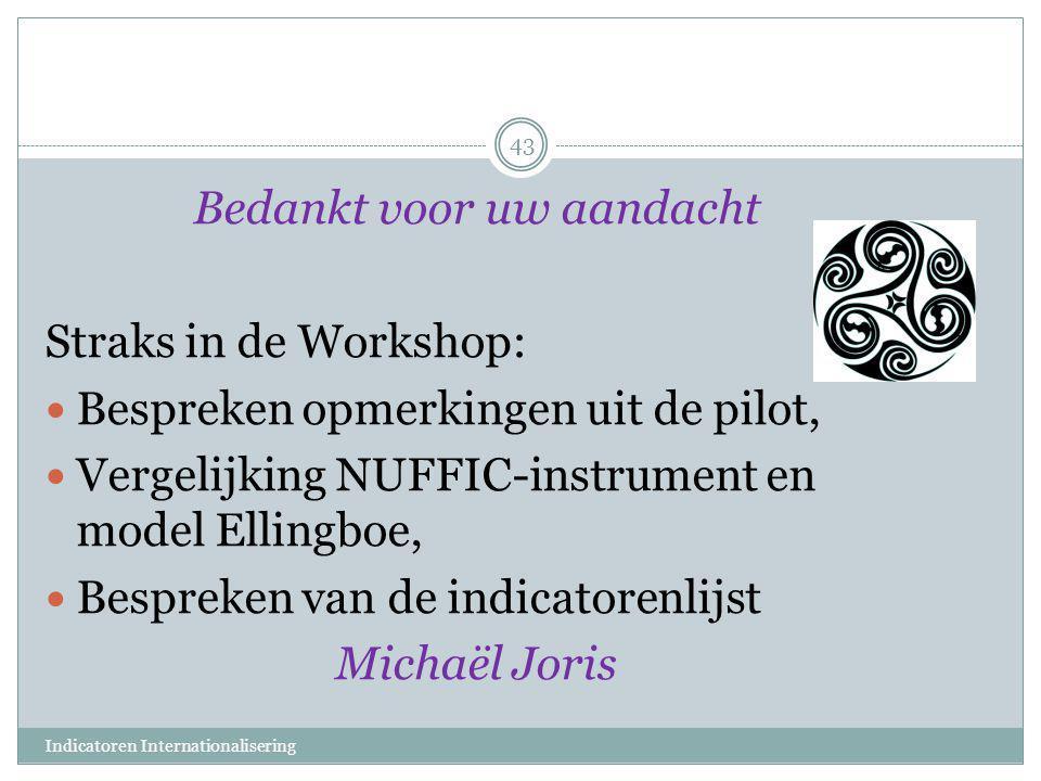 Bedankt voor uw aandacht Straks in de Workshop:  Bespreken opmerkingen uit de pilot,  Vergelijking NUFFIC-instrument en model Ellingboe,  Bespreken