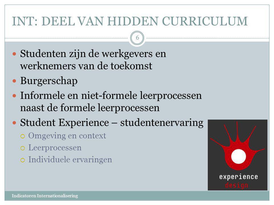 INT: DEEL VAN HIDDEN CURRICULUM  Studenten zijn de werkgevers en werknemers van de toekomst  Burgerschap  Informele en niet-formele leerprocessen n