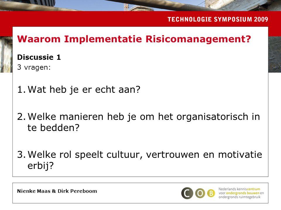 Waarom Implementatie Risicomanagement? Discussie 1 3 vragen: 1.Wat heb je er echt aan? 2.Welke manieren heb je om het organisatorisch in te bedden? 3.