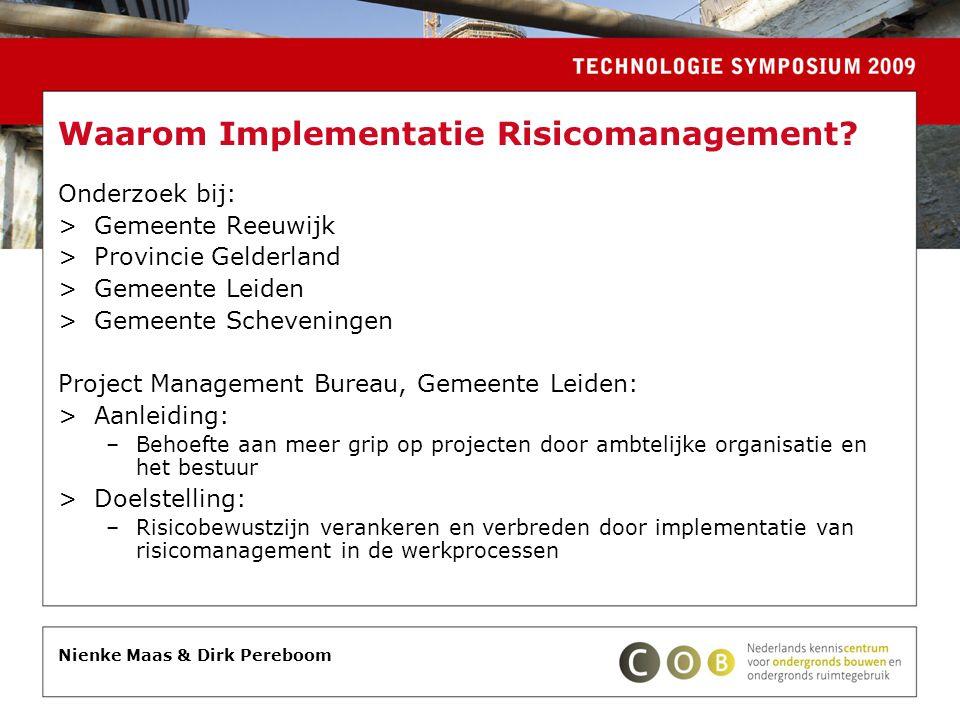 Waarom Implementatie Risicomanagement? Onderzoek bij: >Gemeente Reeuwijk >Provincie Gelderland >Gemeente Leiden >Gemeente Scheveningen Project Managem