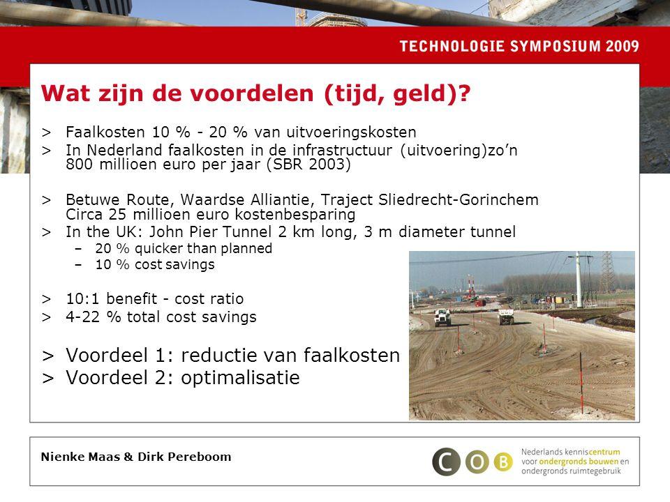 Wat zijn de voordelen (tijd, geld)? >Faalkosten 10 % - 20 % van uitvoeringskosten >In Nederland faalkosten in de infrastructuur (uitvoering)zo'n 800 m