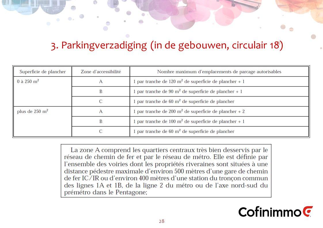 3. Parkingverzadiging (in de gebouwen, circulair 18) 28