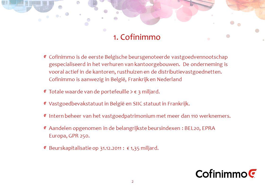 2 1. Cofinimmo Cofinimmo is de eerste Belgische beursgenoteerde vastgoedvennootschap gespecialiseerd in het verhuren van kantoorgebouwen. De ondernemi