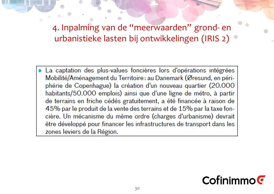 4. Inpalming van de meerwaarden grond- en urbanistieke lasten bij ontwikkelingen (IRIS 2) 30