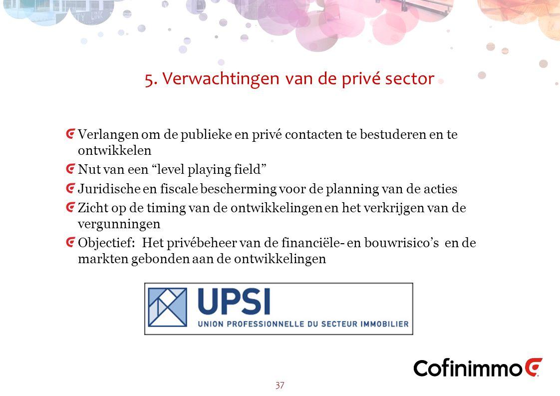 """5. Verwachtingen van de privé sector 37 Verlangen om de publieke en privé contacten te bestuderen en te ontwikkelen Nut van een """"level playing field"""""""