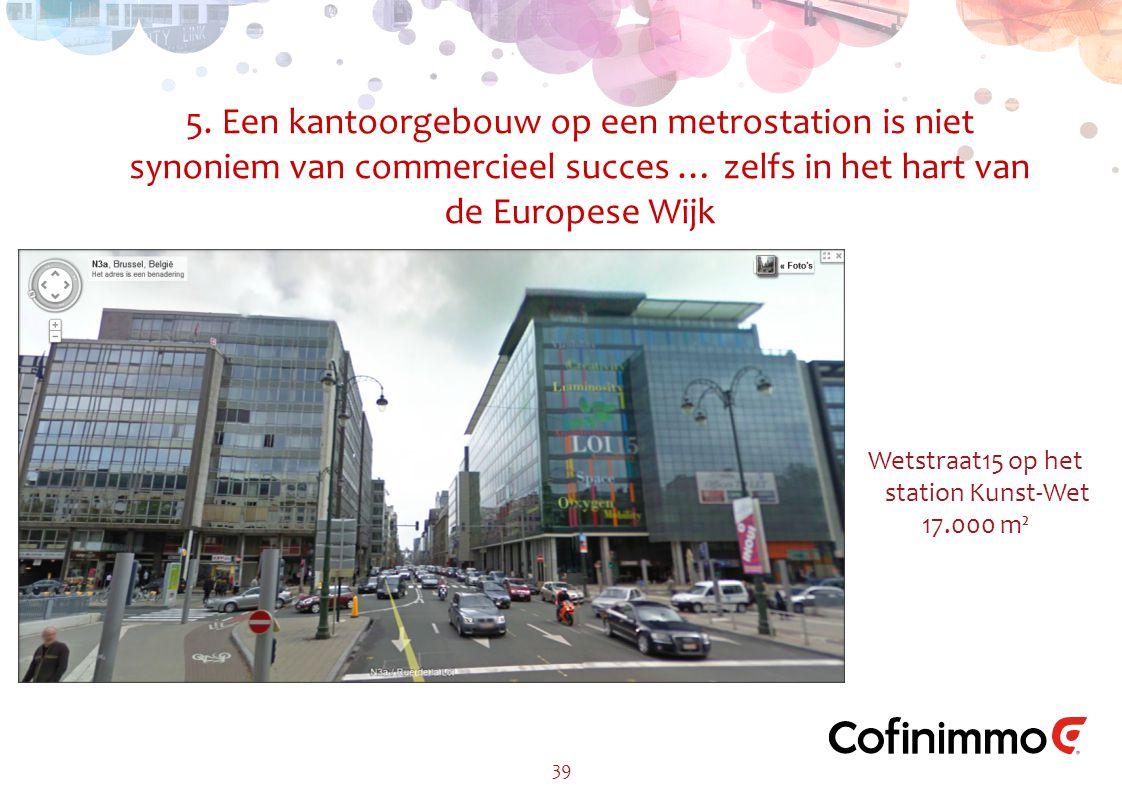 5. Een kantoorgebouw op een metrostation is niet synoniem van commercieel succes … zelfs in het hart van de Europese Wijk 39 Wetstraat15 op het statio