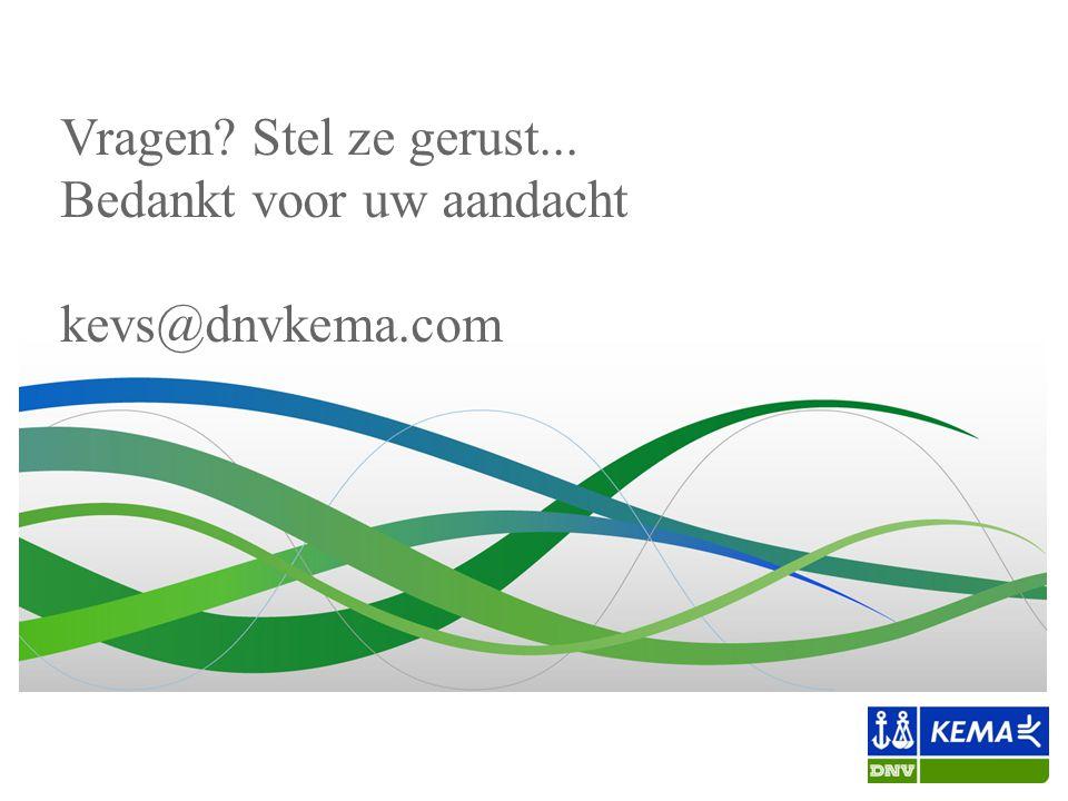 Vragen? Stel ze gerust... Bedankt voor uw aandacht kevs@dnvkema.com
