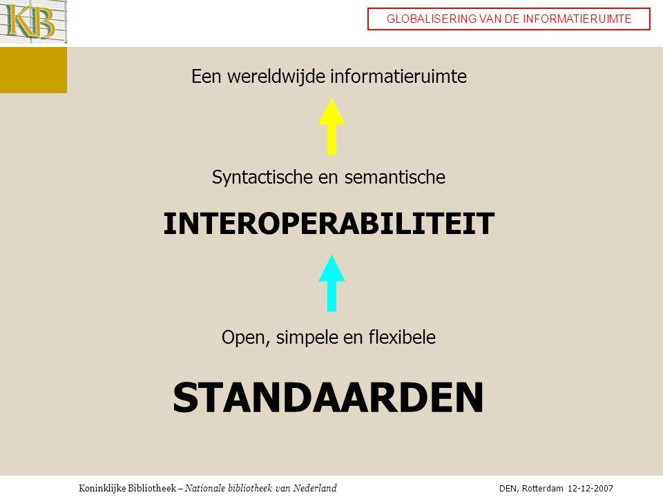 Koninklijke Bibliotheek – Nationale bibliotheek van Nederland GLOBALISERING VAN DE INFORMATIERUIMTE Een wereldwijde informatieruimte Syntactische en semantische INTEROPERABILITEIT Open, simpele en flexibele STANDAARDEN DEN, Rotterdam 12-12-2007