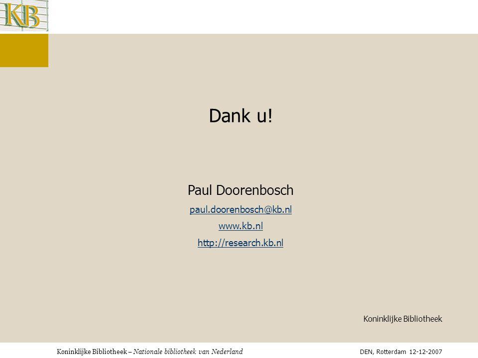 Koninklijke Bibliotheek – Nationale bibliotheek van Nederland Dank u.