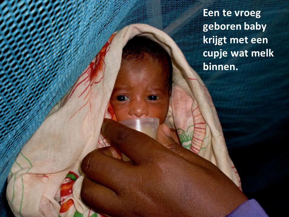 Een te vroeg geboren baby krijgt met een cupje wat melk binnen.