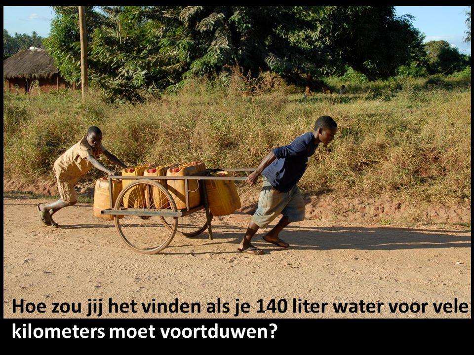 Hoe zou jij het vinden als je 140 liter water voor vele kilometers moet voortduwen?