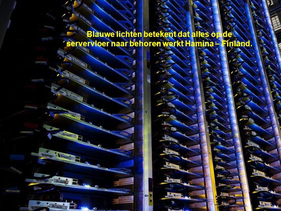 Blauwe lichten betekent dat alles op de servervloer naar behoren werkt Hamina – Finland.