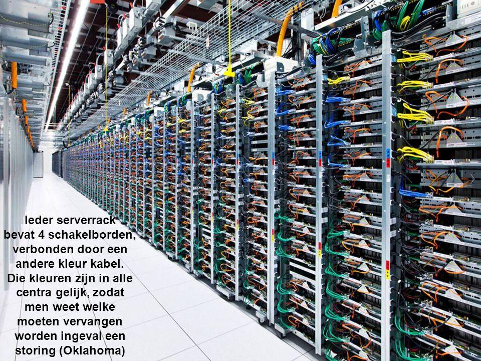 Ieder serverrack bevat 4 schakelborden, verbonden door een andere kleur kabel.