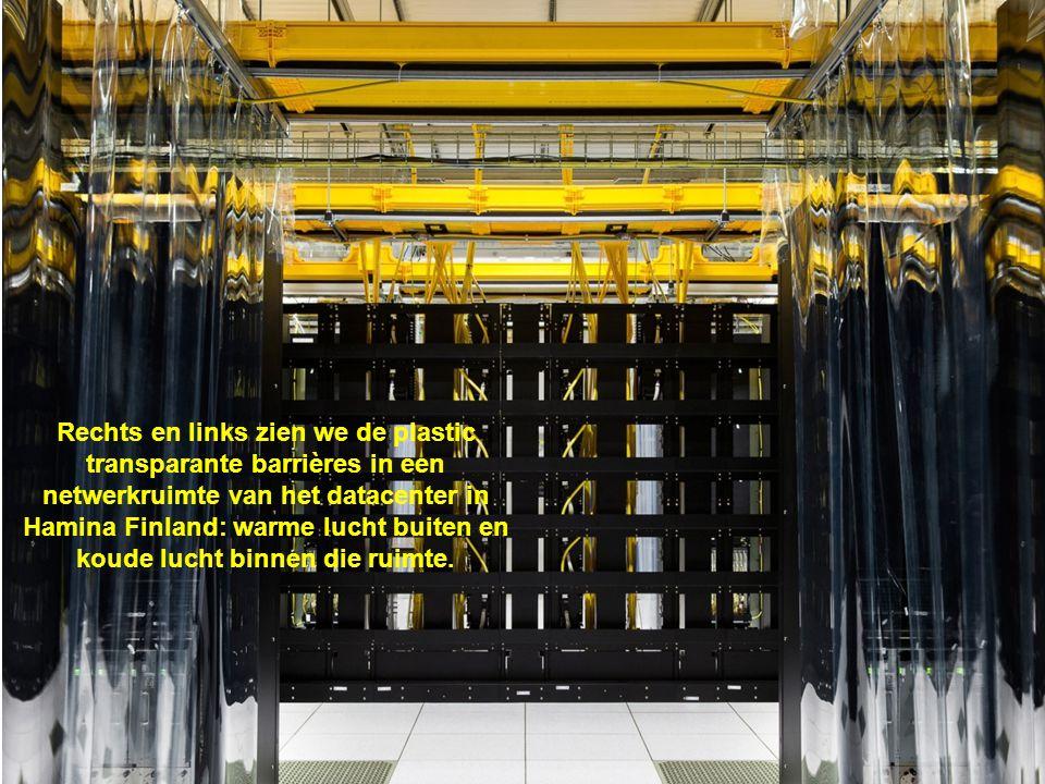 Rechts en links zien we de plastic transparante barrières in een netwerkruimte van het datacenter in Hamina Finland: warme lucht buiten en koude lucht binnen die ruimte.
