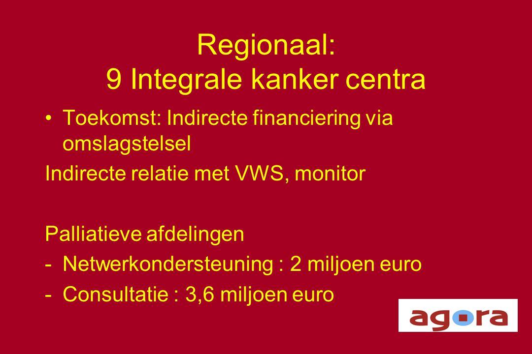 Regionaal: 9 Integrale kanker centra •Toekomst: Indirecte financiering via omslagstelsel Indirecte relatie met VWS, monitor Palliatieve afdelingen -Ne