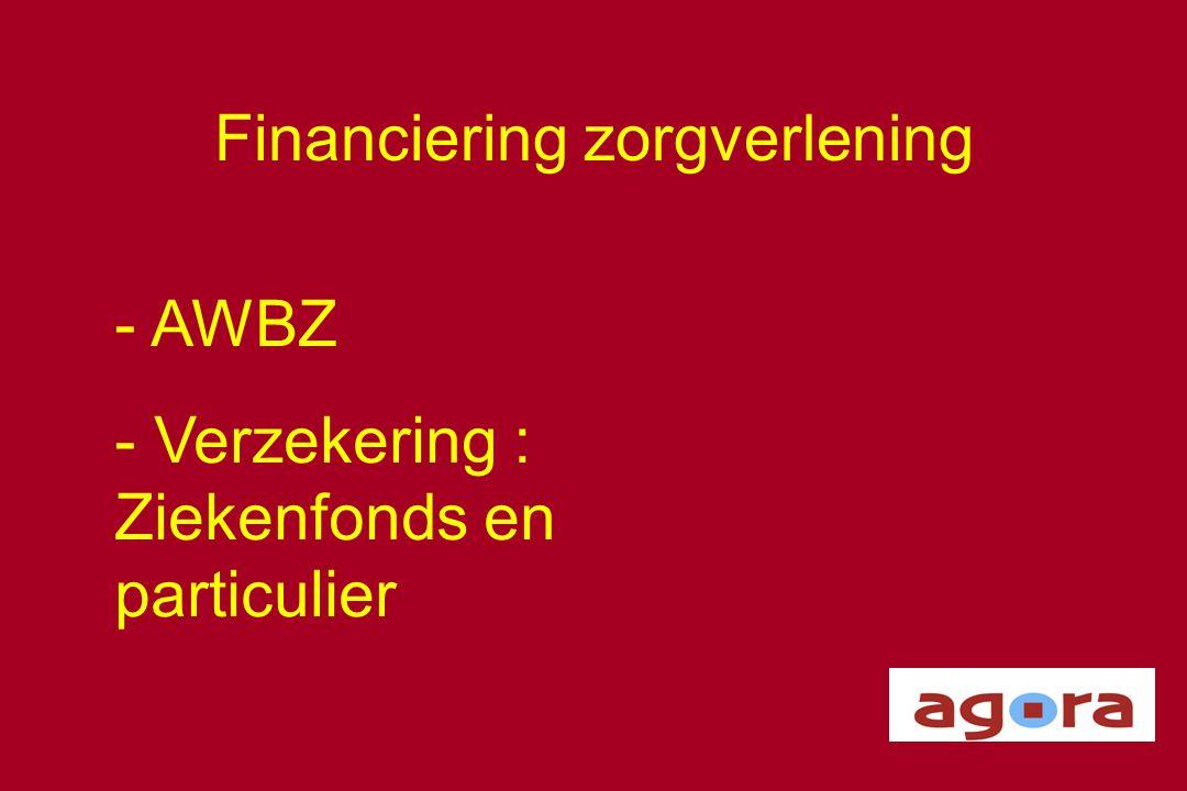 Financiering zorgverlening - AWBZ - Verzekering : Ziekenfonds en particulier
