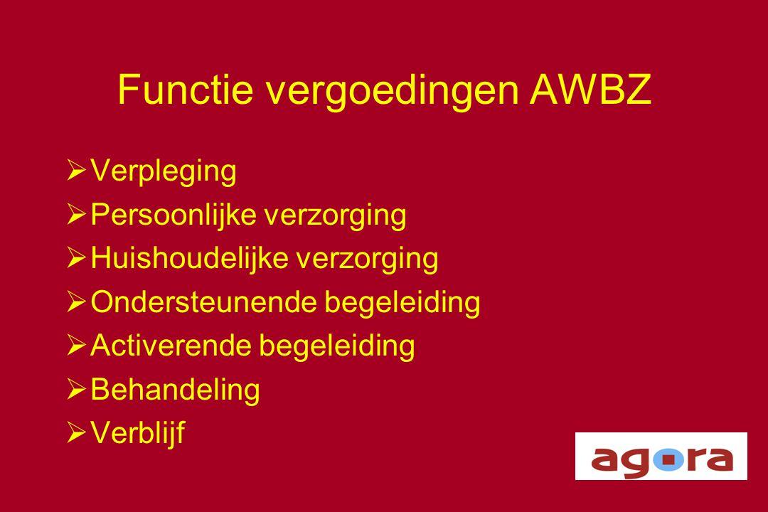 Functie vergoedingen AWBZ  Verpleging  Persoonlijke verzorging  Huishoudelijke verzorging  Ondersteunende begeleiding  Activerende begeleiding 
