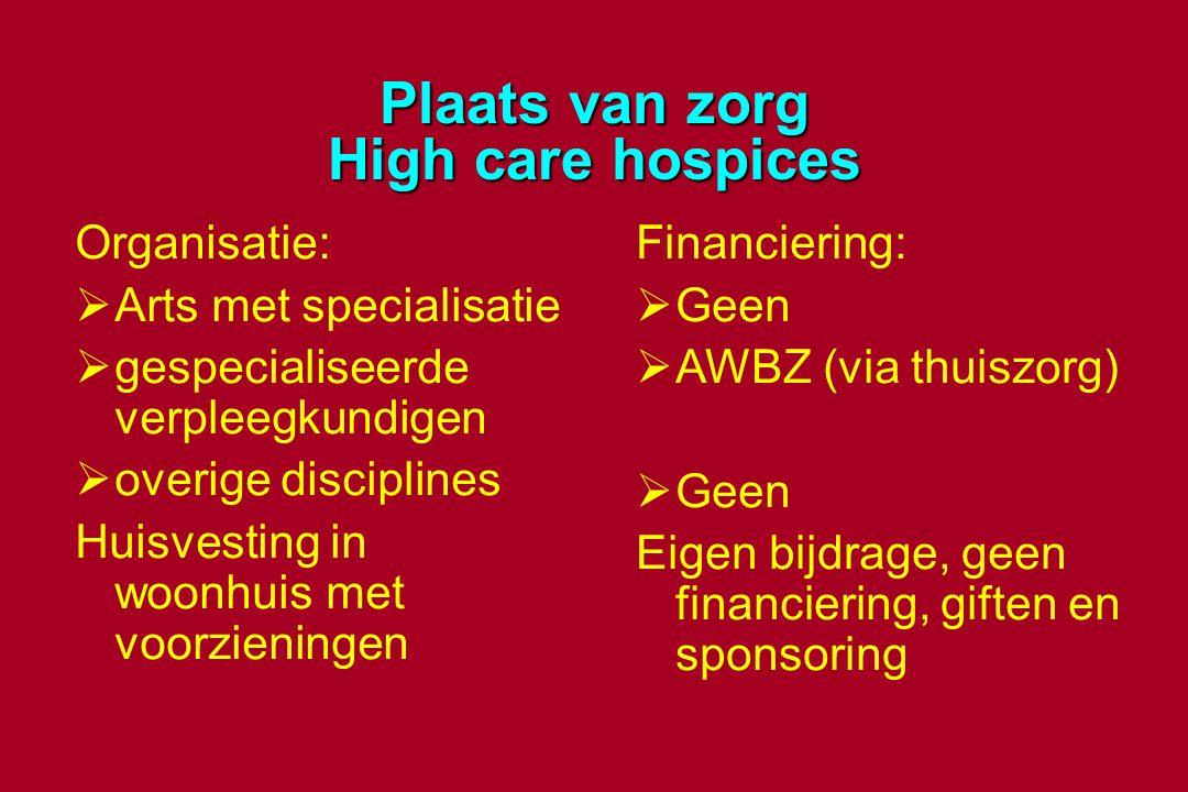 Plaats van zorg High care hospices Organisatie:  Arts met specialisatie  gespecialiseerde verpleegkundigen  overige disciplines Huisvesting in woon