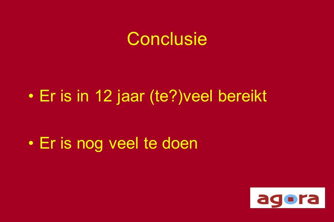 Conclusie •Er is in 12 jaar (te?)veel bereikt •Er is nog veel te doen
