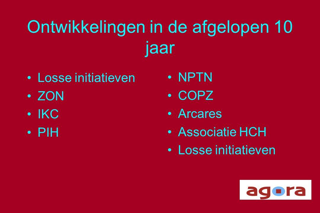 Ontwikkelingen in de afgelopen 10 jaar •Losse initiatieven •ZON •IKC •PIH •NPTN •COPZ •Arcares •Associatie HCH •Losse initiatieven