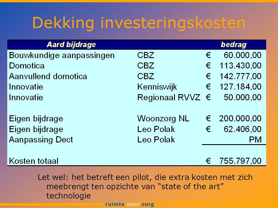 """Dekking investeringskosten Let wel: het betreft een pilot, die extra kosten met zich meebrengt ten opzichte van """"state of the art"""" technologie"""