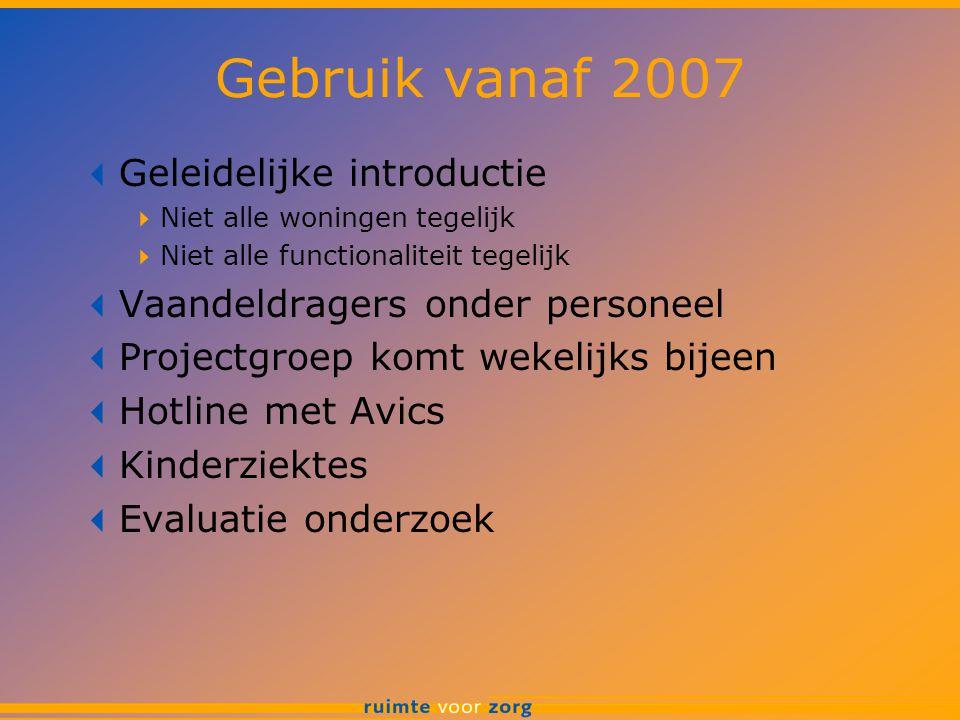 Gebruik vanaf 2007  Geleidelijke introductie  Niet alle woningen tegelijk  Niet alle functionaliteit tegelijk  Vaandeldragers onder personeel  Pr