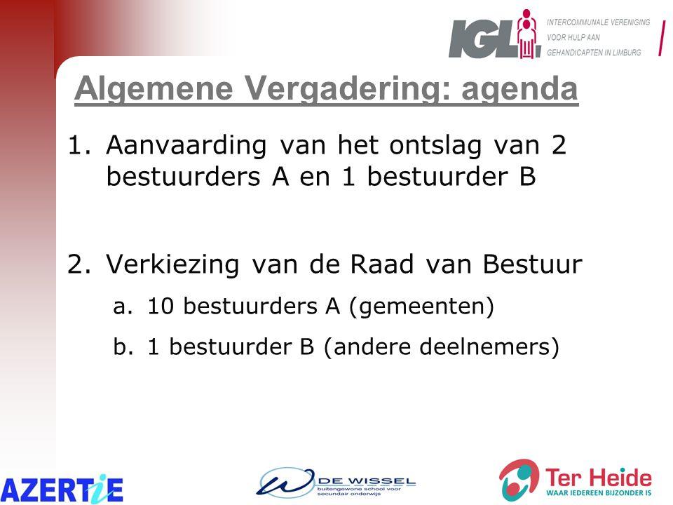 Algemene Vergadering: agenda 1.Aanvaarding van het ontslag van 2 bestuurders A en 1 bestuurder B 2.Verkiezing van de Raad van Bestuur a.10 bestuurders A (gemeenten) b.1 bestuurder B (andere deelnemers)