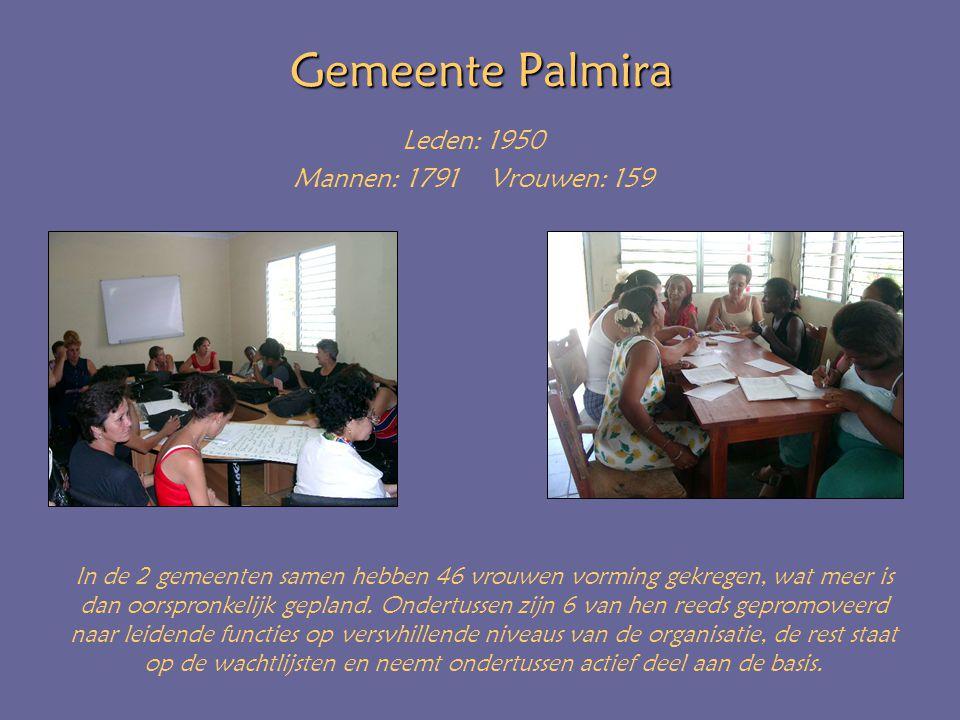 Gemeente Palmira Leden: 1950 Mannen: 1791 Vrouwen: 159 In de 2 gemeenten samen hebben 46 vrouwen vorming gekregen, wat meer is dan oorspronkelijk gepland.