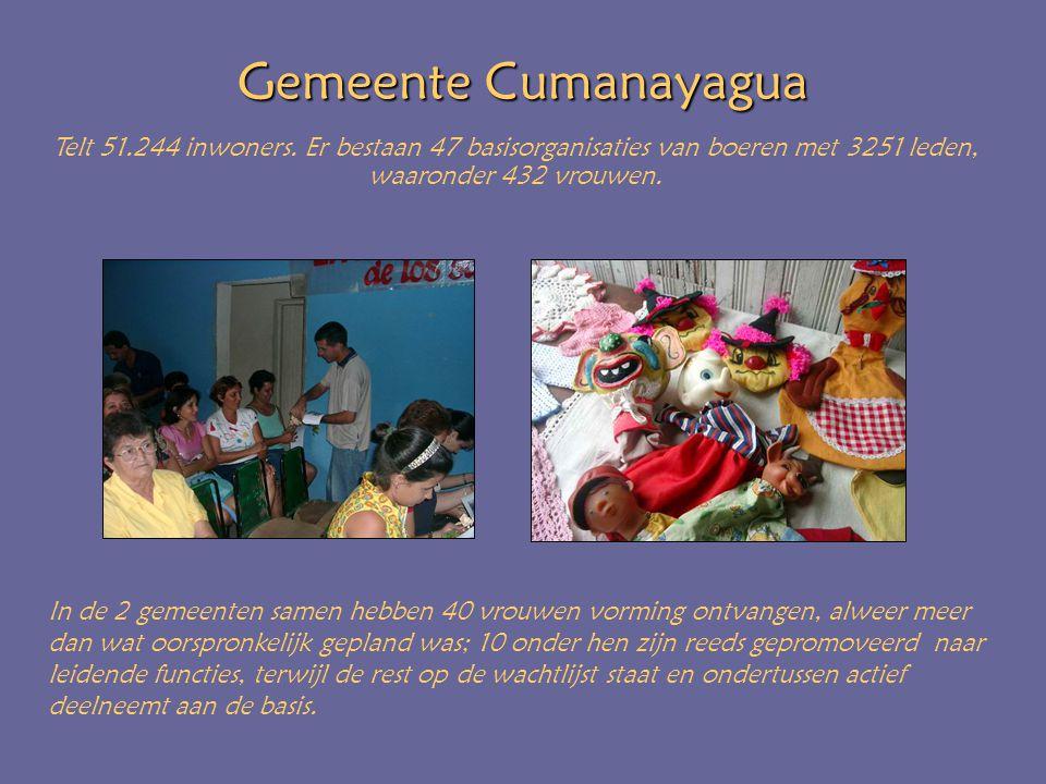 Gemeente Cumanayagua Telt 51.244 inwoners. Er bestaan 47 basisorganisaties van boeren met 3251 leden, waaronder 432 vrouwen. In de 2 gemeenten samen h