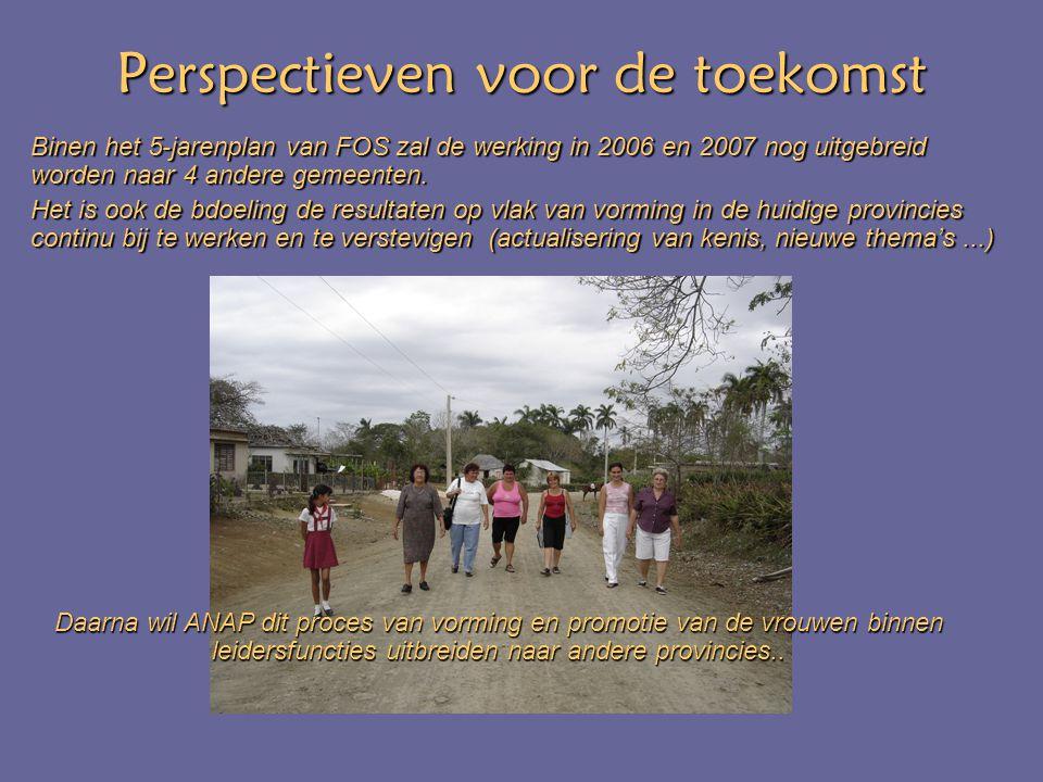 Perspectieven voor de toekomst Binen het 5-jarenplan van FOS zal de werking in 2006 en 2007 nog uitgebreid worden naar 4 andere gemeenten.