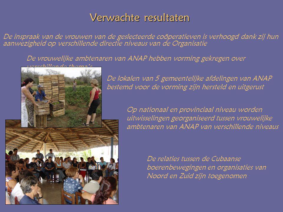 Verwachte resultaten De vrouwelijke ambtenaren van ANAP hebben vorming gekregen over verschillende thema's De relaties tussen de Cubaanse boerenbewegingen en organisaties van Noord en Zuid zijn toegenomen De lokalen van 5 gemeentelijke afdelingen van ANAP bestemd voor de vorming zijn hersteld en uitgerust De inspraak van de vrouwen van de geslecteerde coöperatieven is verhoogd dank zij hun aanwezigheid op verschillende directie niveaus van de Organisatie Op nationaal en provinciaal niveau worden uitwisselingen georganiseerd tussen vrouwelijke ambtenaren van ANAP van verschillende niveaus