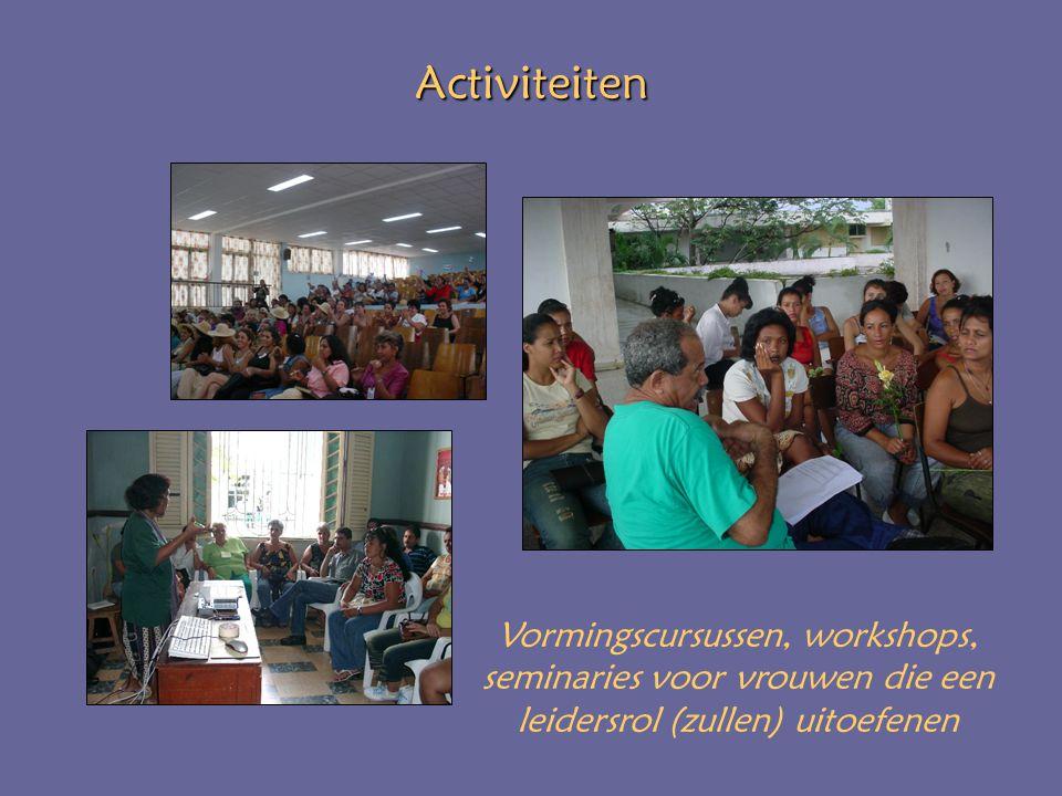 Activiteiten Vormingscursussen, workshops, seminaries voor vrouwen die een leidersrol (zullen) uitoefenen