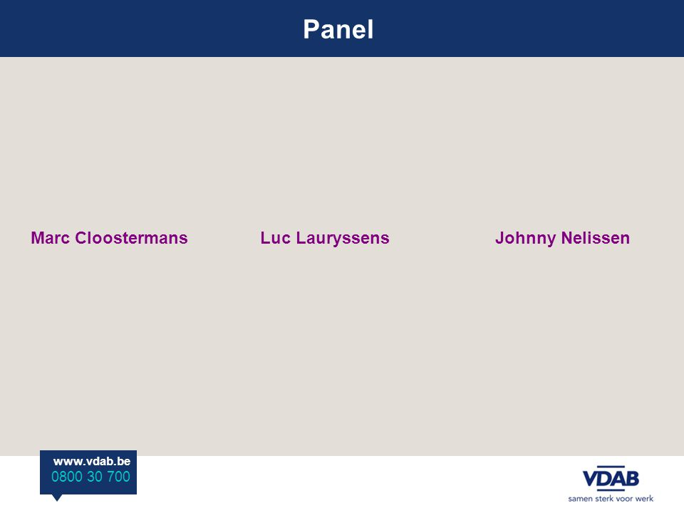 Panel www.vdab.be 0800 30 700 Marc Cloostermans Luc Lauryssens Johnny Nelissen