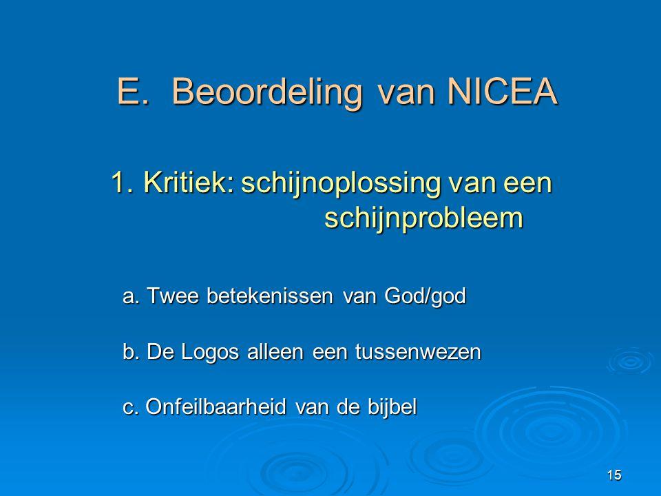 15 E. Beoordeling van NICEA 1.Kritiek: schijnoplossing van een schijnprobleem 1.Kritiek: schijnoplossing van een schijnprobleem a. Twee betekenissen v