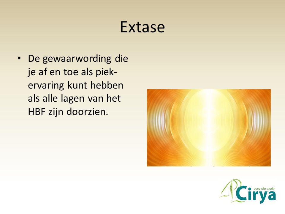 Extase • De gewaarwording die je af en toe als piek- ervaring kunt hebben als alle lagen van het HBF zijn doorzien.
