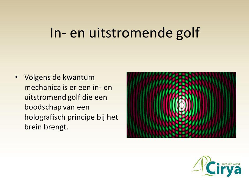 In- en uitstromende golf • Volgens de kwantum mechanica is er een in- en uitstromend golf die een boodschap van een holografisch principe bij het brein brengt.