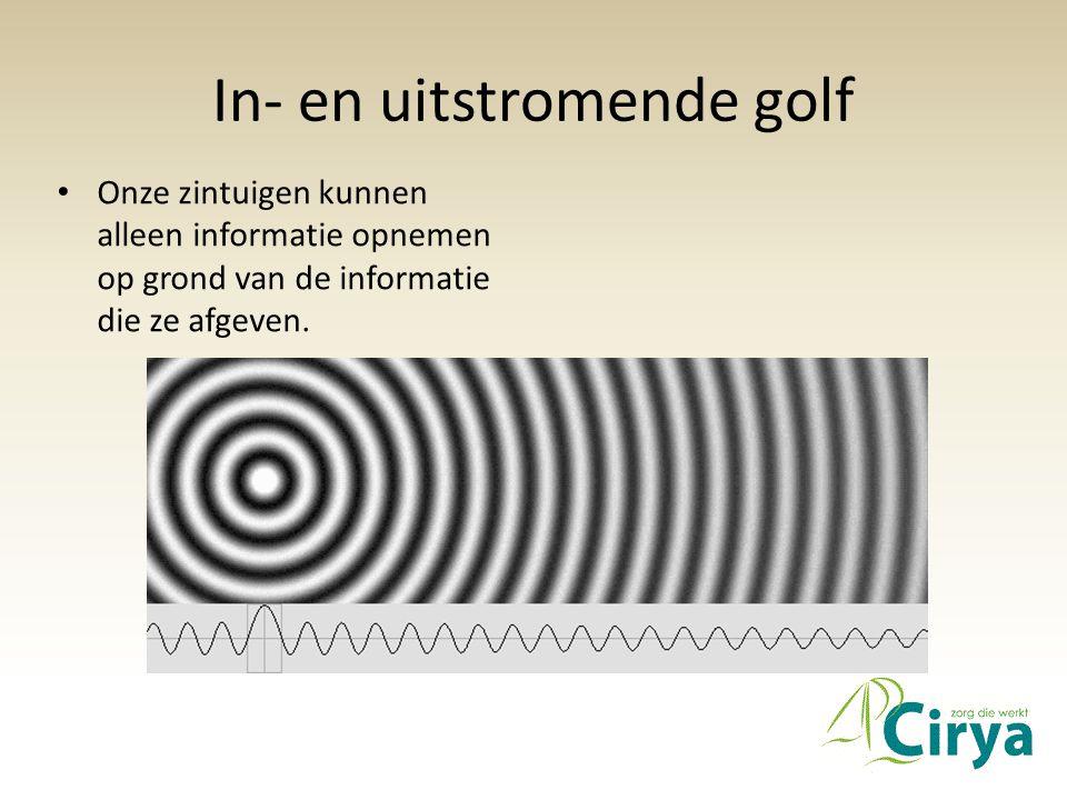 In- en uitstromende golf • Onze zintuigen kunnen alleen informatie opnemen op grond van de informatie die ze afgeven.