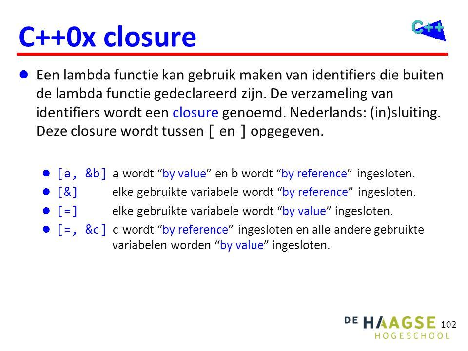C++0x closure  Een lambda functie kan gebruik maken van identifiers die buiten de lambda functie gedeclareerd zijn. De verzameling van identifiers wo