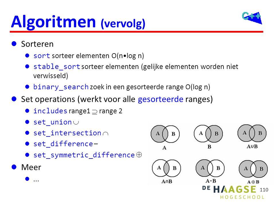 110 Algoritmen (vervolg)  Sorteren  sort sorteer elementen O(n•log n)  stable_sort sorteer elementen (gelijke elementen worden niet verwisseld)  b