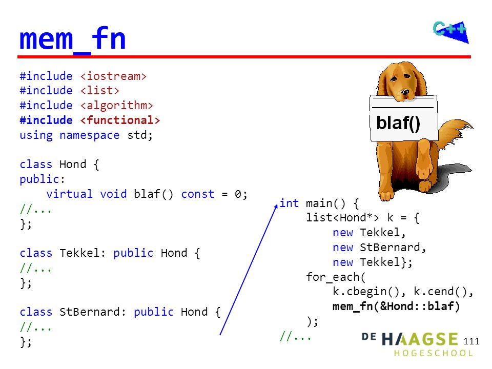 111 mem_fn #include using namespace std; class Hond { public: virtual void blaf() const = 0; //...