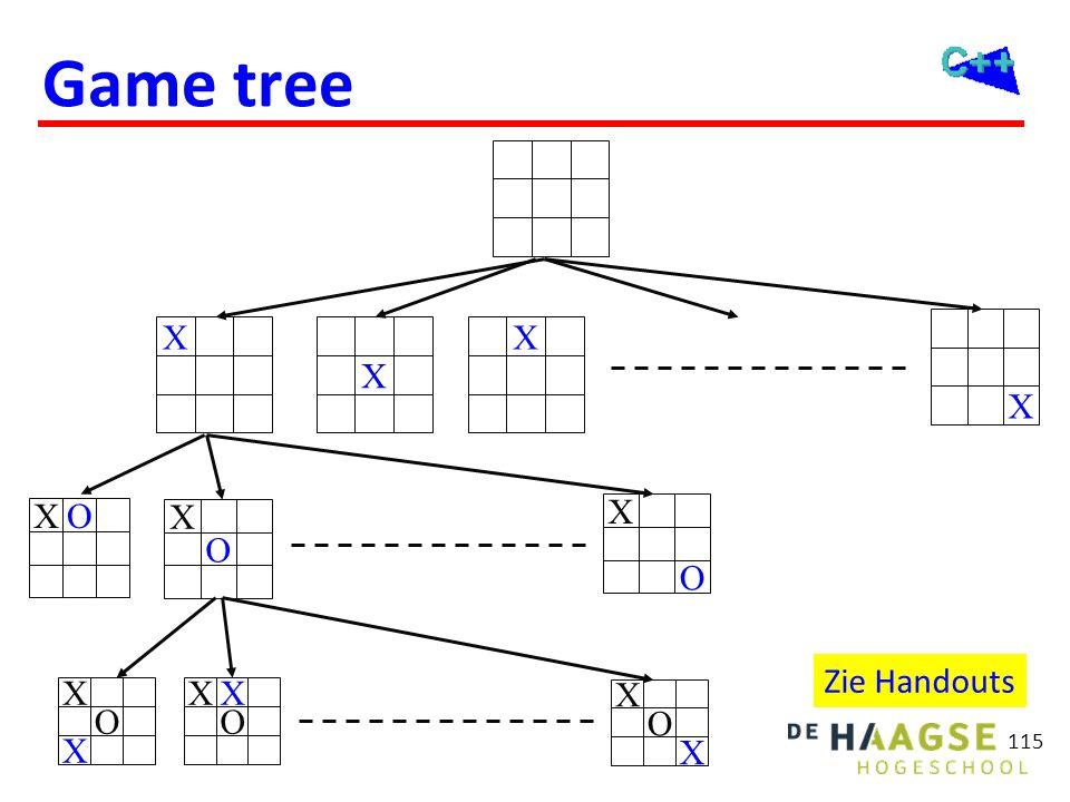 Game tree X X X X OX O X O X O X X O X X O XX Zie Handouts 115