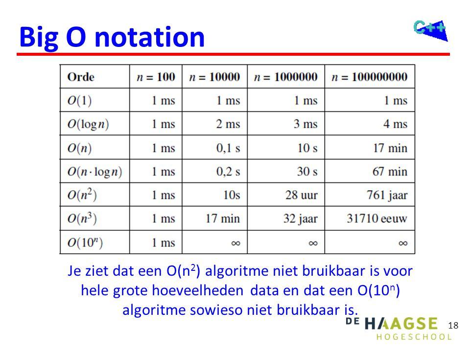 18 Big O notation Je ziet dat een O(n 2 ) algoritme niet bruikbaar is voor hele grote hoeveelheden data en dat een O(10 n ) algoritme sowieso niet bru